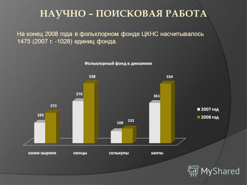 НАУЧНО – ПОИСКОВАЯ РАБОТА На конец 2008 года в фольклорном фонде ЦКНС насчитывалось 1475 (2007 г. -1028) единиц фонда.