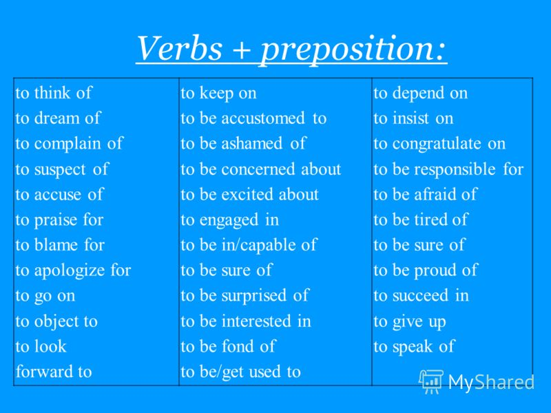 Verbs + preposition: to think of to dream of to complain of to suspect of to accuse of to praise for to blame for to apologize for to go on to object to to look forward to to keep on to be accustomed to to be ashamed of to be concerned about to be ex