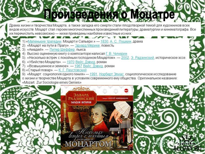 Драма жизни и творчества Моцарта, а также загадка его смерти стали плодотворной темой для художников всех видов искусств. Моцарт стал героем многочисленных произведений литературы, драматургии и кинематографа. Все их перечислить невозможно ниже приве