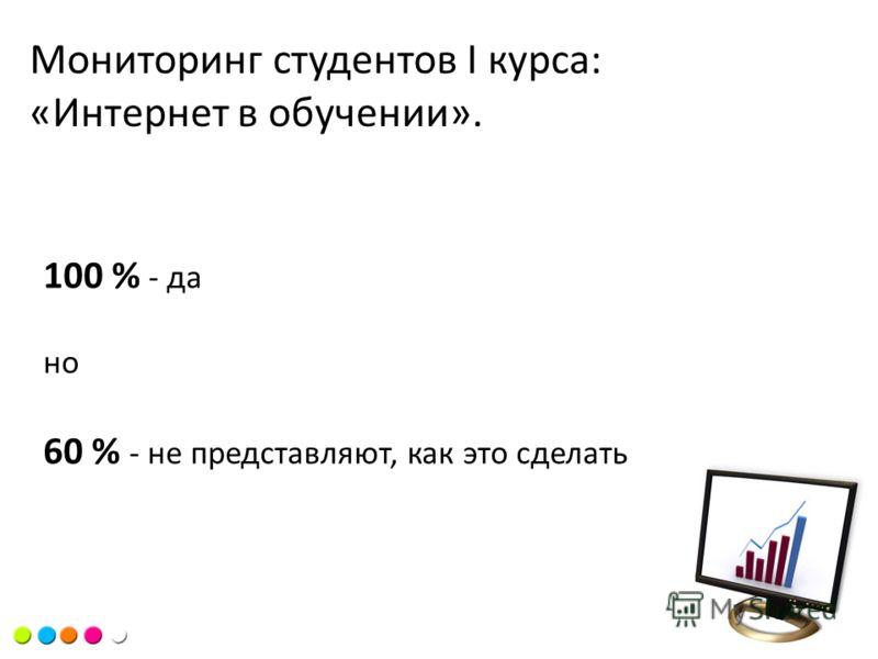 Цель курсаМониторинг студентов I курса: «Интернет в обучении». 100 % - да но 60 % - не представляют, как это сделать