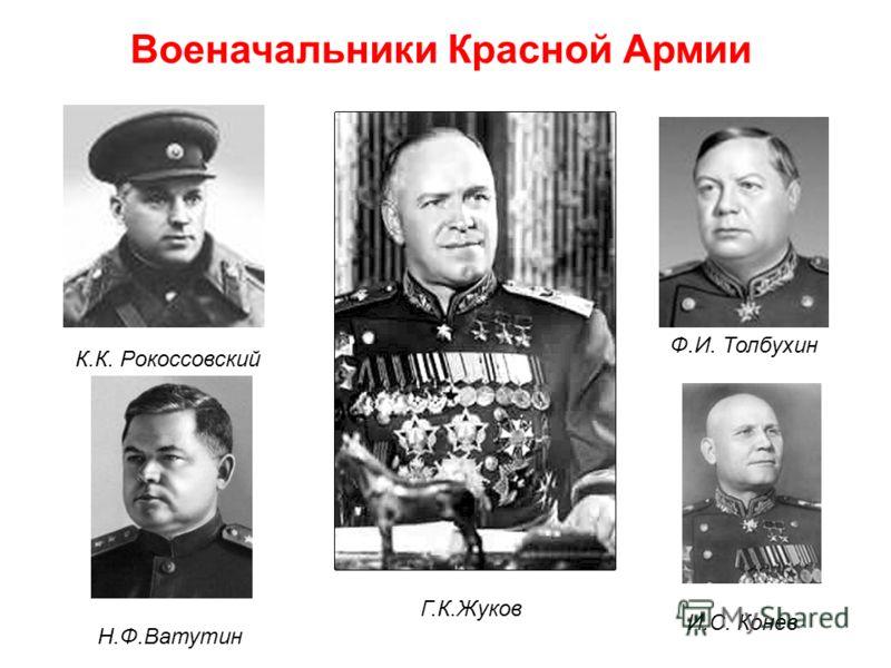 К.К. Рокоссовский Н.Ф.Ватутин Г.К.Жуков И.С. Конев Ф.И. Толбухин Военачальники Красной Армии