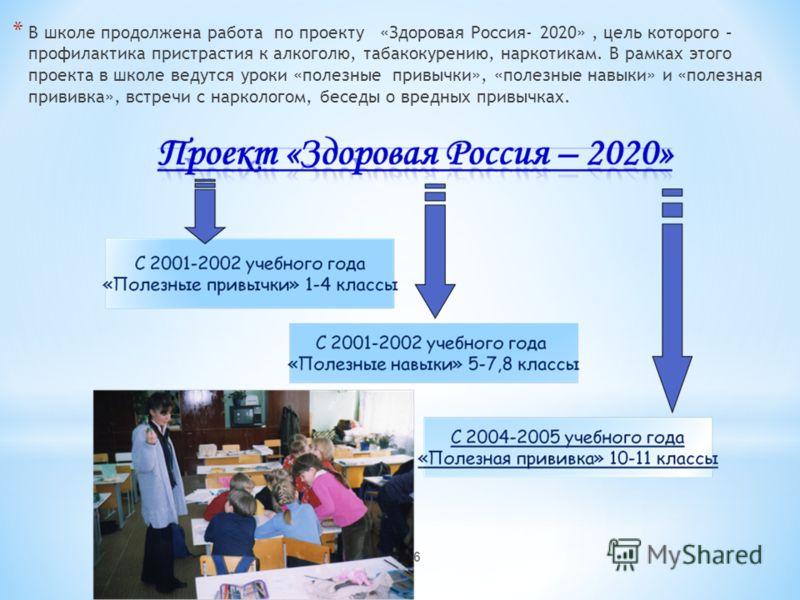 * В школе продолжена работа по проекту «Здоровая Россия- 2020», цель которого – профилактика пристрастия к алкоголю, табакокурению, наркотикам. В рамках этого проекта в школе ведутся уроки «полезные привычки», «полезные навыки» и «полезная прививка»,