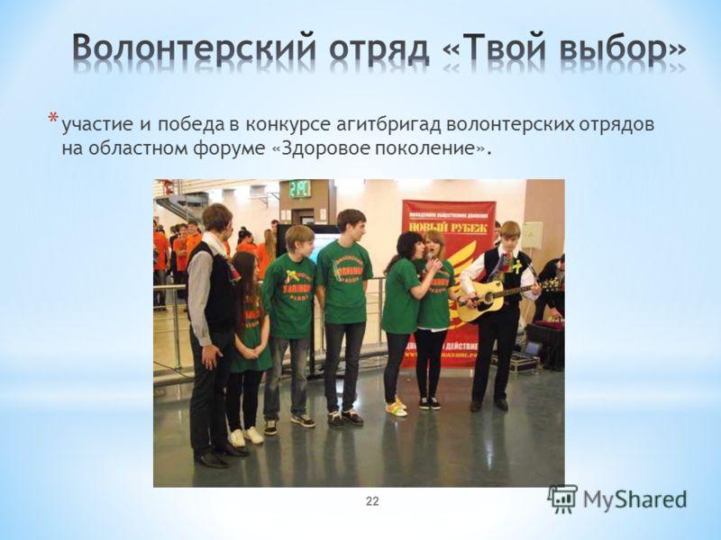 * участие и победа в конкурсе агитбригад волонтерских отрядов на областном форуме «Здоровое поколение». 22