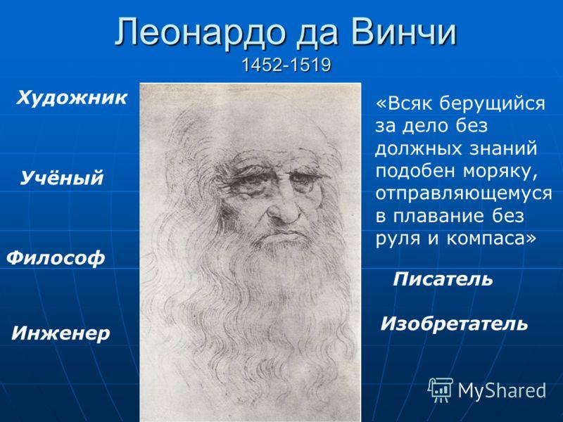Леонардо да Винчи 1452-1519 Художник Учёный «Всяк берущийся за дело без должных знаний подобен моряку, отправляющемуся в плавание без руля и компаса» Философ Изобретатель Инженер Писатель