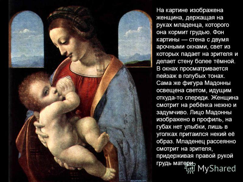 На картине изображена женщина, держащая на руках младенца, которого она кормит грудью. Фон картины стена с двумя арочными окнами, свет из которых падает на зрителя и делает стену более тёмной. В окнах просматривается пейзаж в голубых тонах. Сама же ф