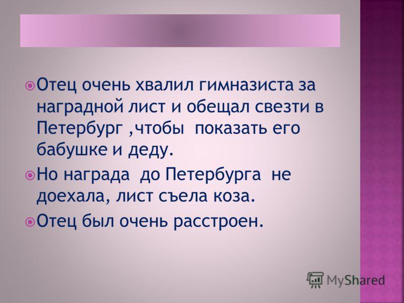 Отец очень хвалил гимназиста за наградной лист и обещал свезти в Петербург,чтобы показать его бабушке и деду. Но награда до Петербурга не доехала, лист съела коза. Отец был очень расстроен.