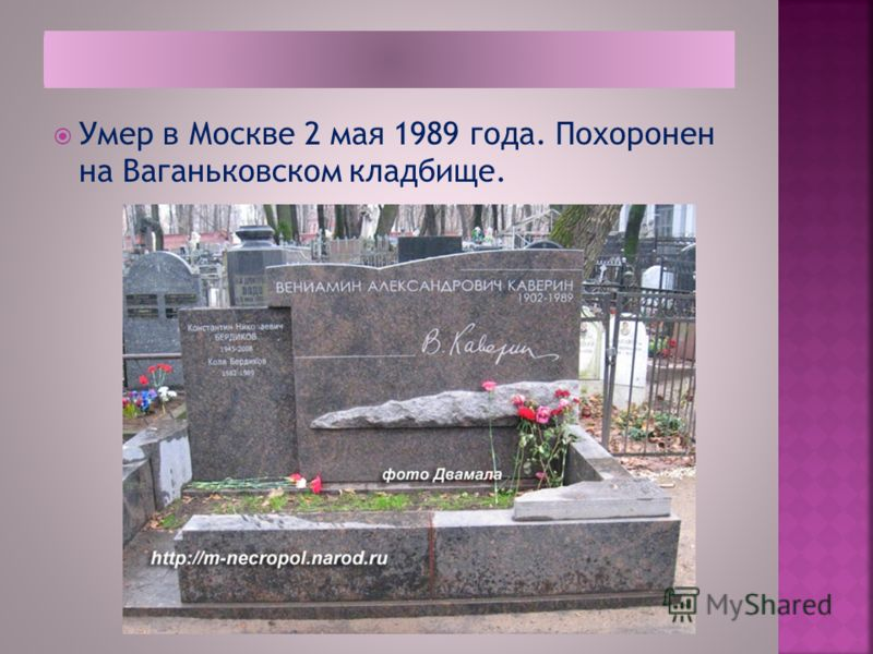 Умер в Москве 2 мая 1989 года. Похоронен на Ваганьковском кладбище.