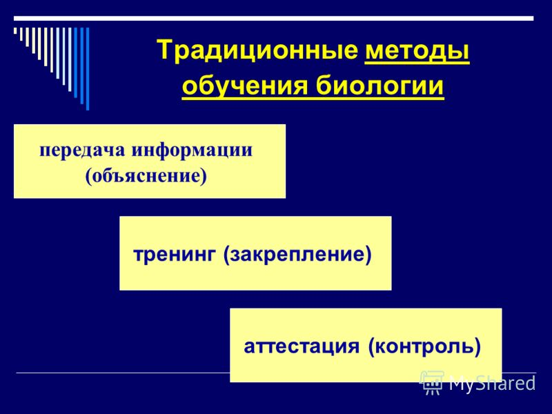 Традиционные методы обучения биологии передача информации (объяснение) тренинг (закрепление) аттестация (контроль)