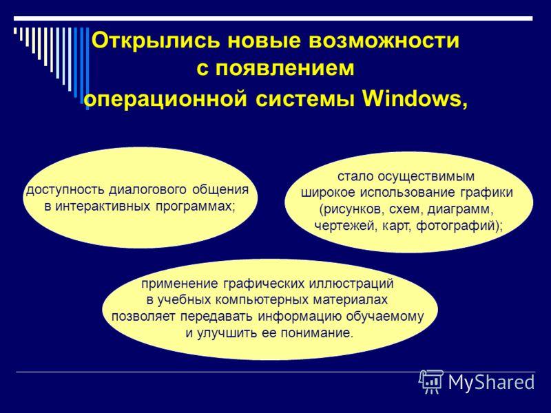 Открылись новые возможности с появлением операционной системы Windows, доступность диалогового общения в интерактивных программах; стало осуществимым широкое использование графики (рисунков, схем, диаграмм, чертежей, карт, фотографий); применение гра