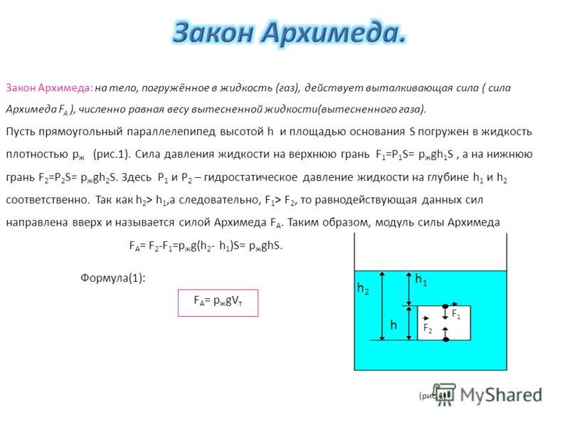Закон Архимеда: на тело, погружённое в жидкость (газ), действует выталкивающая сила ( сила Архимеда F A ), численно равная весу вытесненной жидкости(вытесненного газа). Пусть прямоугольный параллелепипед высотой h и площадью основания S погружен в жи