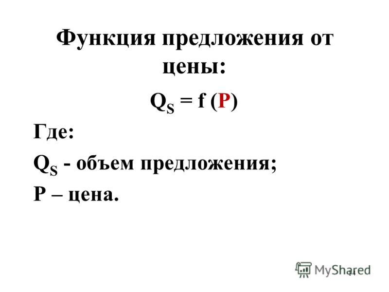 14 Функция предложения от цены: Q S = f (P) Где: Q S - объем предложения; Р – цена.
