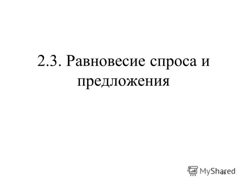 16 2.3. Равновесие спроса и предложения
