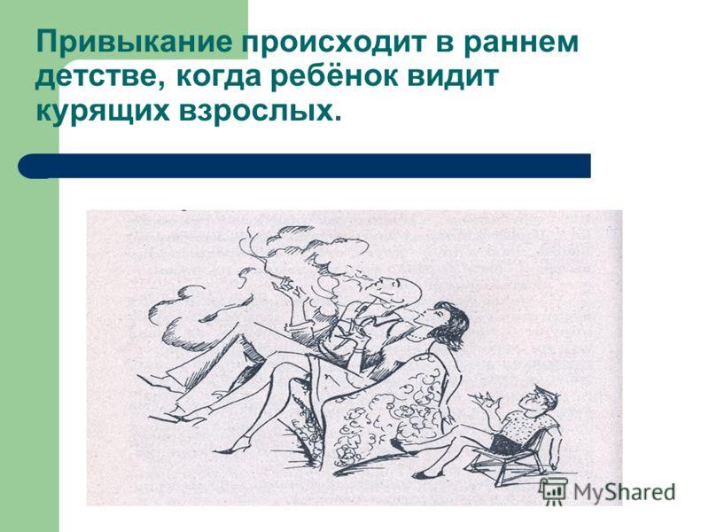 Привыкание происходит в раннем детстве, когда ребёнок видит курящих взрослых.