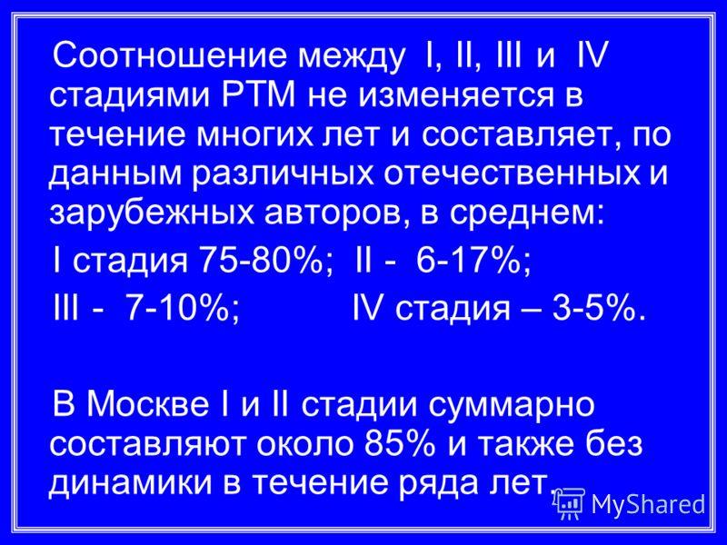 Соотношение между I, II, III и IV стадиями РТМ не изменяется в течение многих лет и составляет, по данным различных отечественных и зарубежных авторов, в среднем: I стадия 75-80%; II - 6-17%; III - 7-10%; IV стадия – 3-5%. В Москве I и II стадии сумм