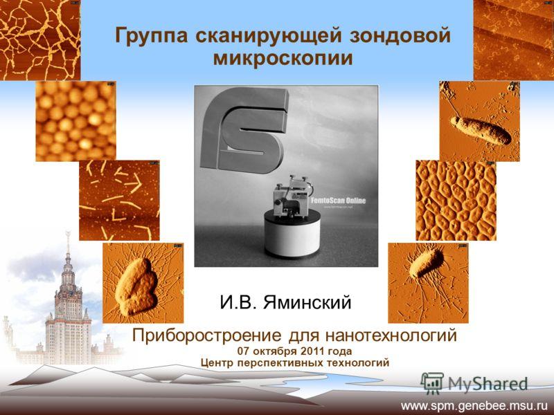 Группа сканирующей зондовой микроскопии Приборостроение для нанотехнологий 07 октября 2011 года Центр перспективных технологий И.В. Яминский www.spm.genebee.msu.ru