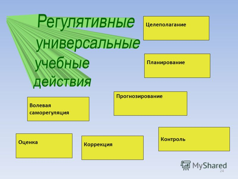Целеполагание Планирование Контроль Прогнозирование Коррекция Волевая саморегуляция Оценка 24