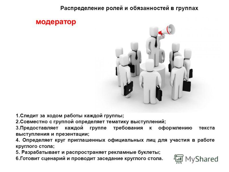 модератор 1.Следит за ходом работы каждой группы; 2.Совместно с группой определяет тематику выступлений; 3.Предоставляет каждой группе требования к оформлению текста выступления и презентации; 4. Определяет круг приглашенных официальных лиц для участ