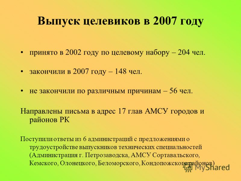 Выпуск целевиков в 2007 году принято в 2002 году по целевому набору – 204 чел. закончили в 2007 году – 148 чел. не закончили по различным причинам – 56 чел. Направлены письма в адрес 17 глав АМСУ городов и районов РК Поступили ответы из 6 администрац