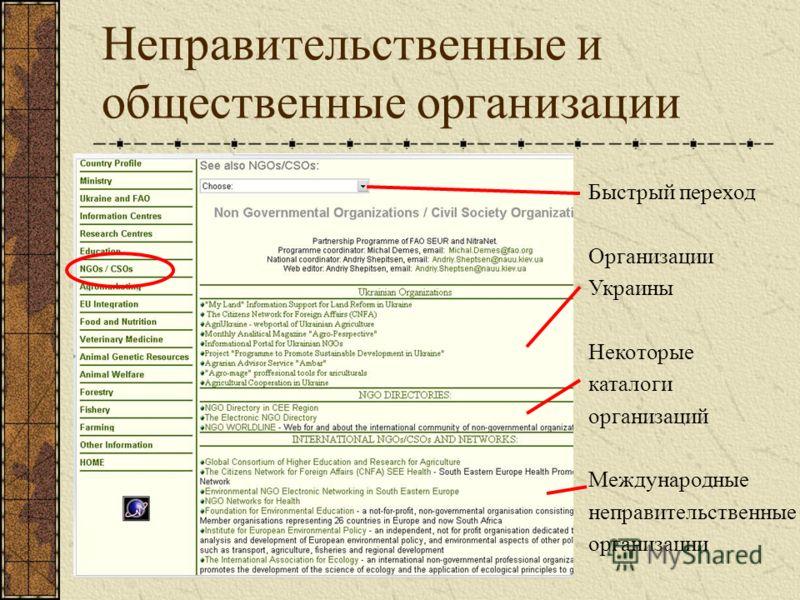 Неправительственные и общественные организации Быстрый переход Организации Украины Некоторые каталоги организаций Международные неправительственные организации
