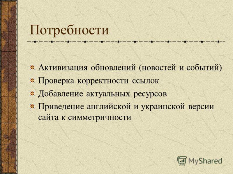 Потребности Активизация обновлений (новостей и событий) Проверка корректности ссылок Добавление актуальных ресурсов Приведение английской и украинской версии сайта к симметричности