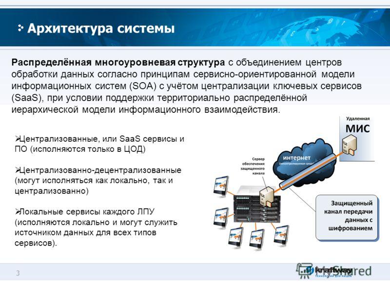 3 Архитектура системы Распределённая многоуровневая структура с объединением центров обработки данных согласно принципам сервисно-ориентированной модели информационных систем (SOA) с учётом централизации ключевых сервисов (SaaS), при условии поддержк