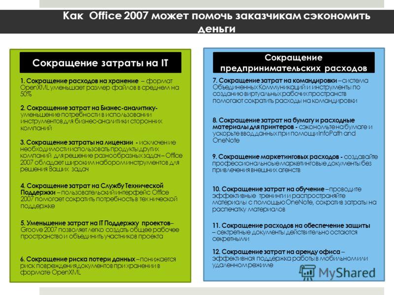 Как Office 2007 может помочь заказчикам сэкономить деньги 1. Сокращение расходов на хранение – формат OpenXML уменьшает размер файлов в среднем на 50% 3. Сокращение затраты на лицензии - исключен ие необходимости использовать продукты других компаний