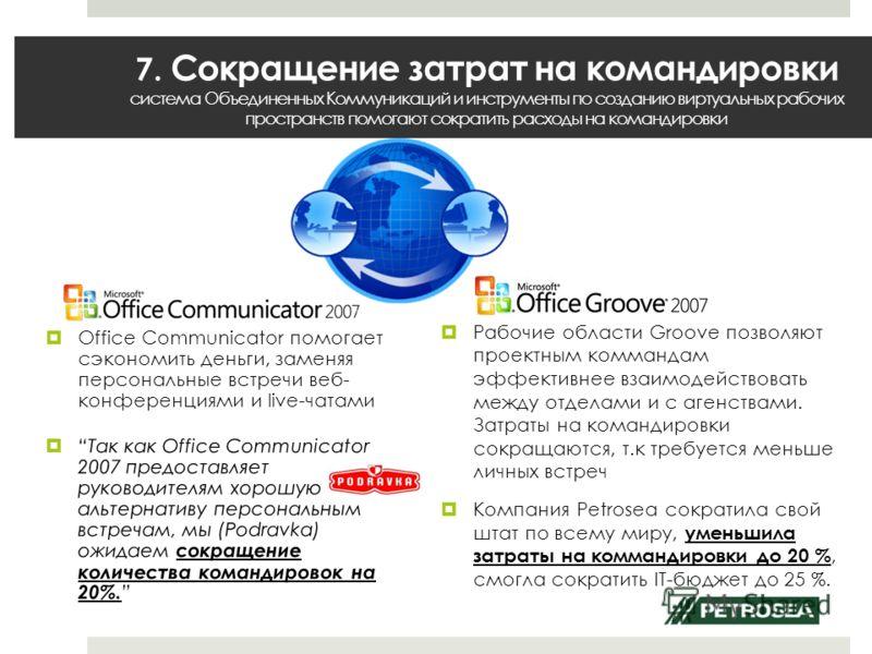 7. Сокращение затрат на командировки система Объединенных Коммуникаций и инструменты по созданию виртуальных рабочих пространств помогают сократить расходы на командировки Рабочие области Groove позволяют проектным коммандам эффективнее взаимодейство