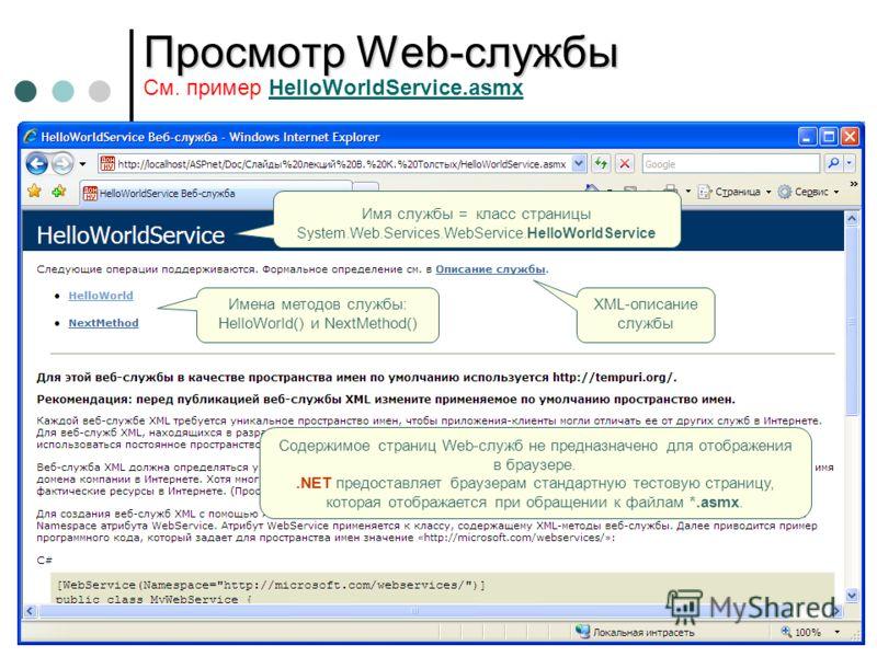 Просмотр Web-службы Просмотр Web-службы См. пример HelloWorldService.asmxHelloWorldService.asmx Имя службы = класс страницы System.Web.Services.WebService.HelloWorldService Имена методов службы: HelloWorld() и NextMethod() XML-описание службы Содержи