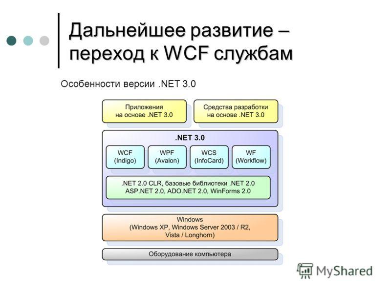 Дальнейшее развитие – переход к WCF службам Особенности версии.NET 3.0