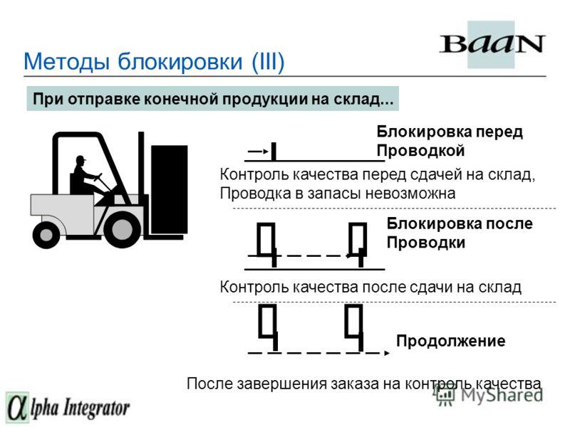 Методы блокировки (III) При отправке конечной продукции на склад... Блокировка после Проводки Продолжение Блокировка перед Проводкой Контроль качества после сдачи на склад Контроль качества перед сдачей на склад, Проводка в запасы невозможна После за