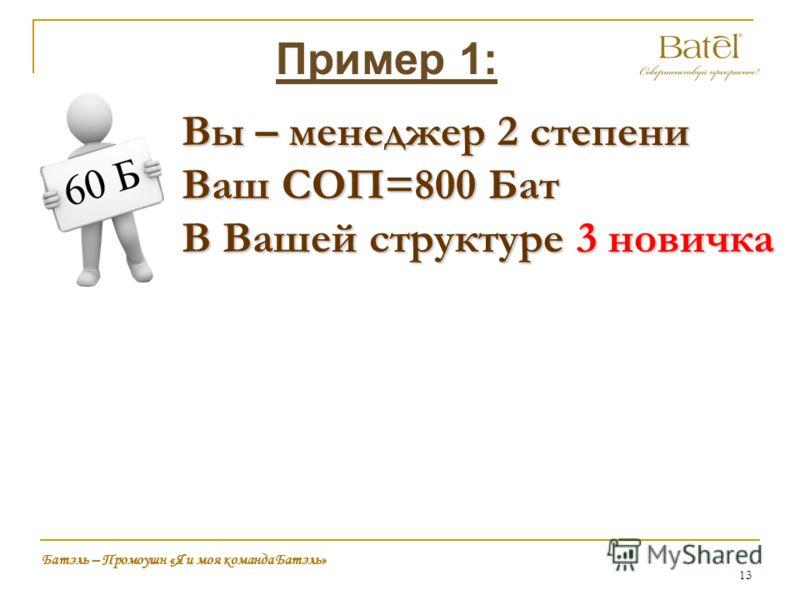 13 Батэль – Промоушн «Я и моя команда Батэль» Пример 1: Вы – менеджер 2 степени Ваш СОП=800 Бат В Вашей структуре 3 новичка