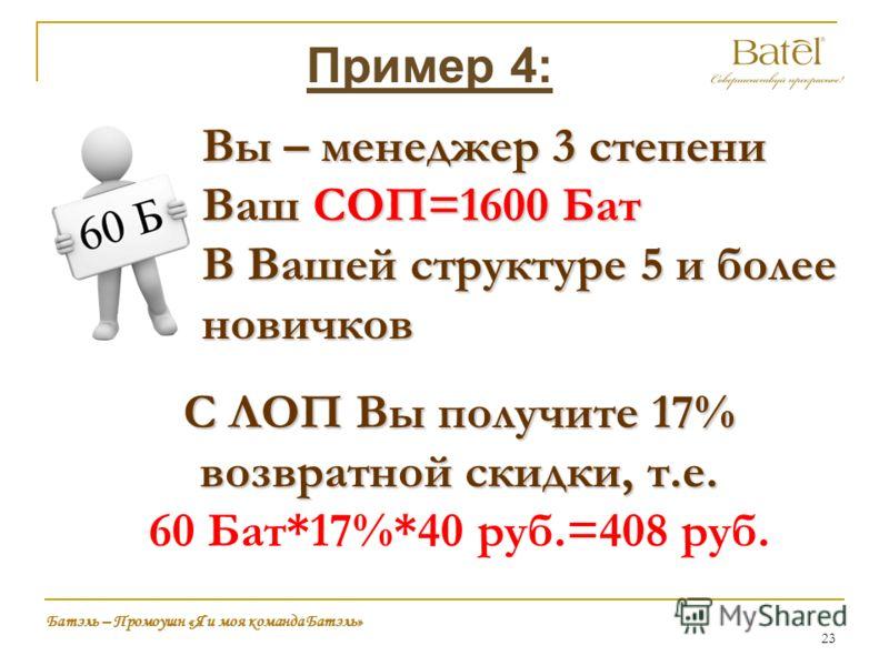 23 Батэль – Промоушн «Я и моя команда Батэль» Пример 4: Вы – менеджер 3 степени Ваш СОП=1600 Бат В Вашей структуре 5 и более новичков С ЛОП Вы получите 17% возвратной скидки, т.е. 60 Бат*17%*40 руб.=408 руб.
