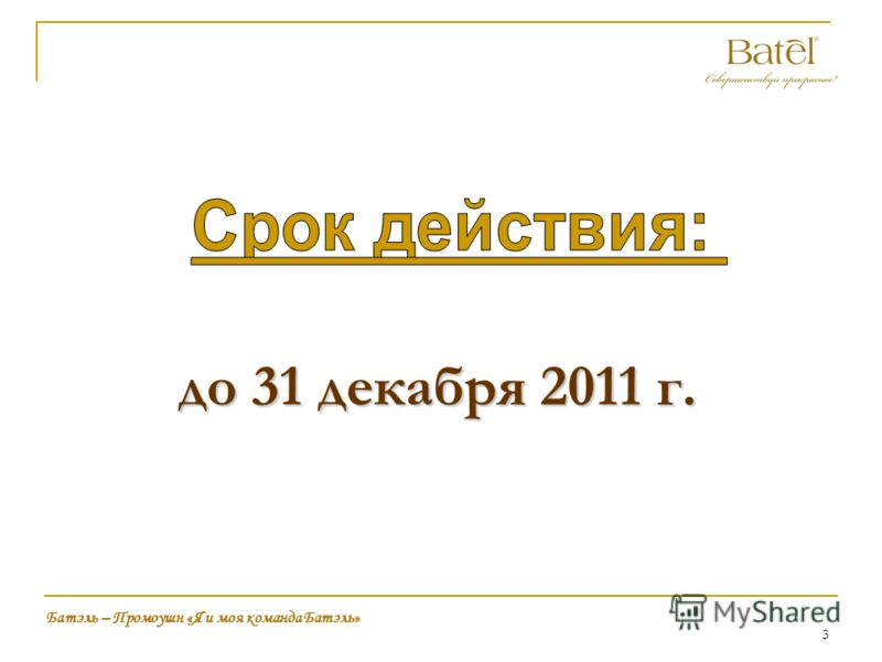 3 до 31 декабря 2011 г. Батэль – Промоушн «Я и моя команда Батэль»