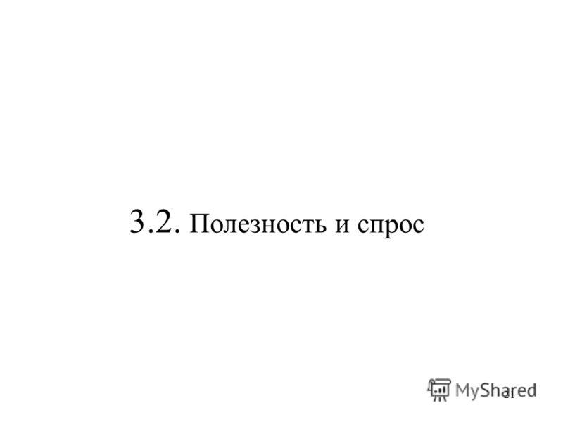 21 3.2. Полезность и спрос
