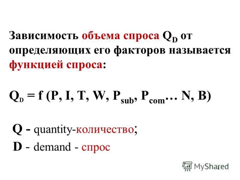 4 Зависимость объема спроса Q D от определяющих его факторов называется функцией спроса: Q D = f (P, I, T, W, P sub, P com … N, B) Q - quantity-количество ; D - demand - спрос