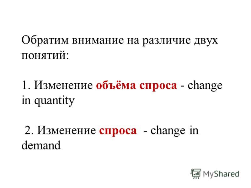5 Обратим внимание на различие двух понятий: 1. Изменение объёма спроса - change in quantity 2. Изменение спроса - change in demand