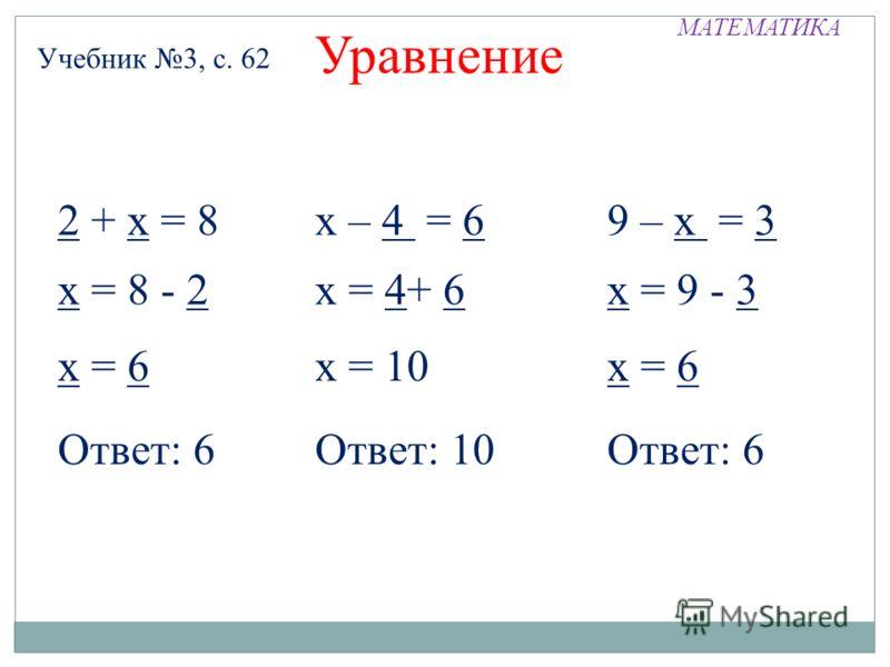 МАТЕМАТИКА Учебник 3, с. 62 Уравнение х = 6 Ответ: 6 2 + х = 8 Ответ: 10 х = 8 - 2 х = 10 х – 4 = 6 х = 4+ 6 х = 6 9 – х = 3 х = 9 - 3