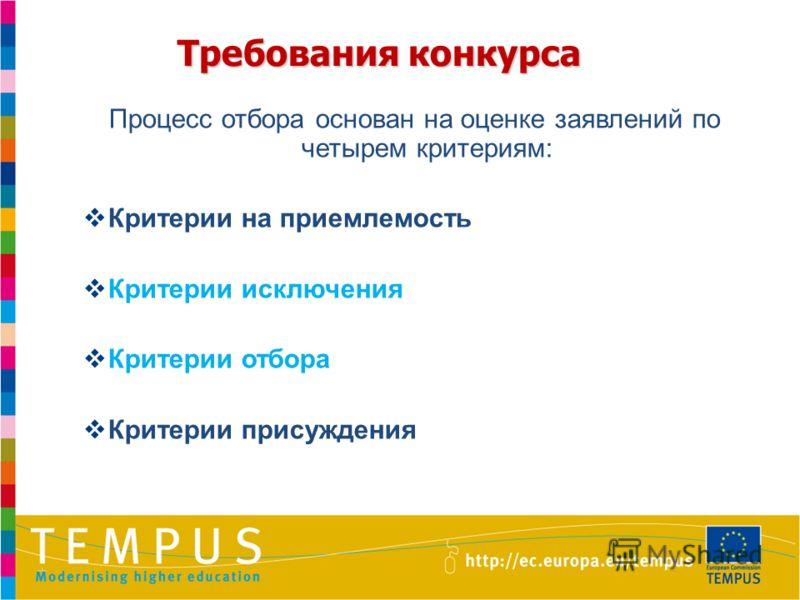 Требования конкурса Процесс отбора основан на оценке заявлений по четырем критериям: Критерии на приемлемость Критерии исключения Критерии отбора Критерии присуждения