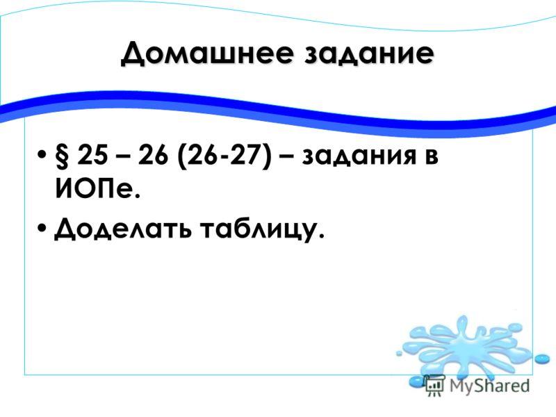 Домашнее задание § 25 – 26 (26-27) – задания в ИОПе. Доделать таблицу.