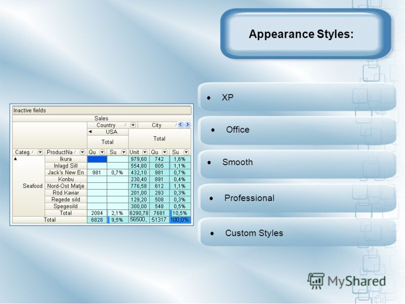 Appearance Styles: Office Professional Custom Styles XP Smooth