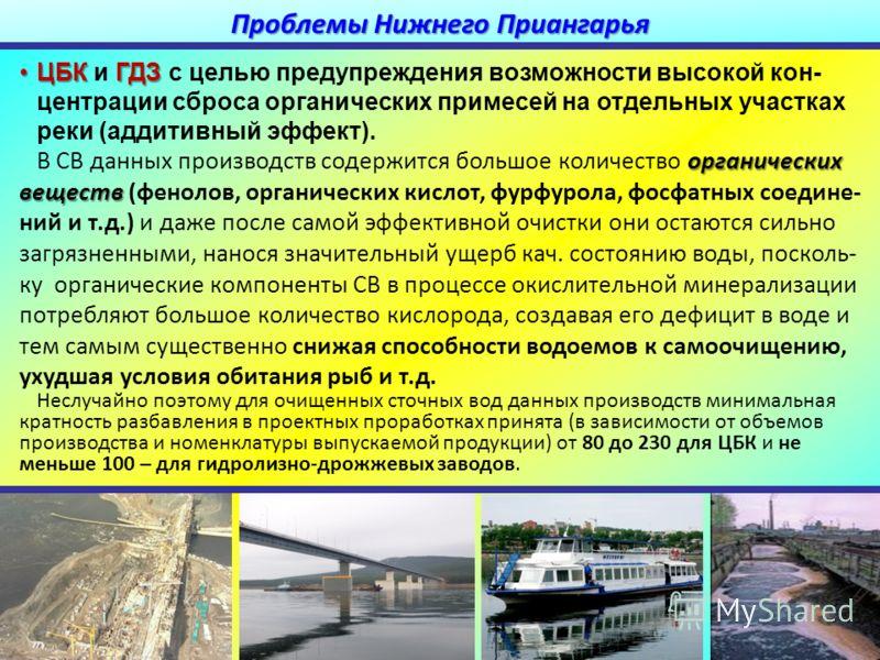 ЦБКГДЗЦБК и ГДЗ с целью предупреждения возможности высокой кон- центрации сброса органических примесей на отдельних участках реки (аддитивный эффект). органических веществ В СВ данних производств содержится большое количество органических веществ (фе