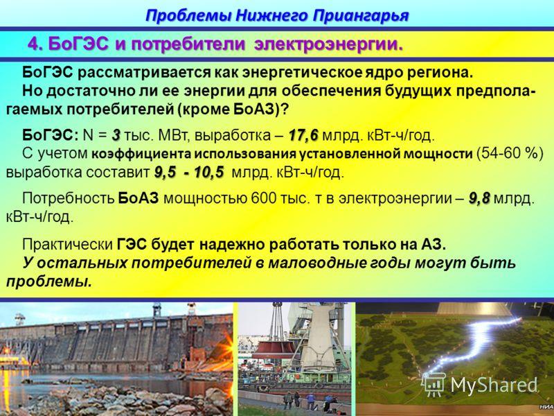 БоГЭС рассматривается как энергетическое ядро региона. Но достаточно ли ее энергии для обеспечения будущих предпола- гаемых потребителей (кроме БоАЗ)? 317,6 БоГЭС: N = 3 тыс. МВт, выработка – 17,6 млрд. кВт-ч/год. 9,5- 10,5 С учетом коэффициента испо