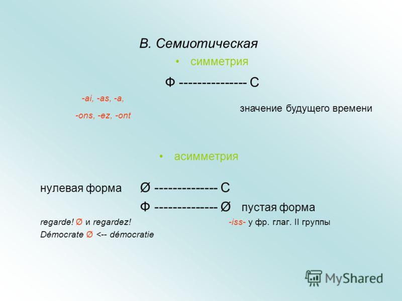 В. Семиотическая симметрия Ф --------------- С асимметрия нулевая форма Ø -------------- С Ф -------------- Ø пустая форма regarde! Ø и regardez! -iss- y фр. глаг. II группы Démocrate Ø