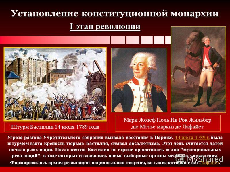 Установление конституционной монархии I этап революции Штурм Бастилии 14 июля 1789 года Угроза разгона Учредительного собрания вызвала восстание в Париже. 14 июля 1789 г. была штурмом взята крепость-тюрьма Бастилия, символ абсолютизма. Этот день счит