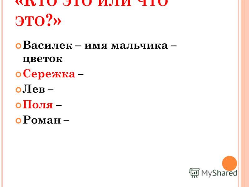 «К ТО ЭТО ИЛИ ЧТО ЭТО ?» Василек – имя мальчика – цветок Сережка – Лев – Поля – Роман –
