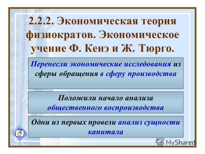 2.2.2. Экономическая теория физиократов. Экономическое учение Ф. Кенэ и Ж. Тюрго. Перенесли экономические исследования из сферы обращения в сферу производства Одни из первых провели анализ сущности капитала Положили начало анализа общественного воспр
