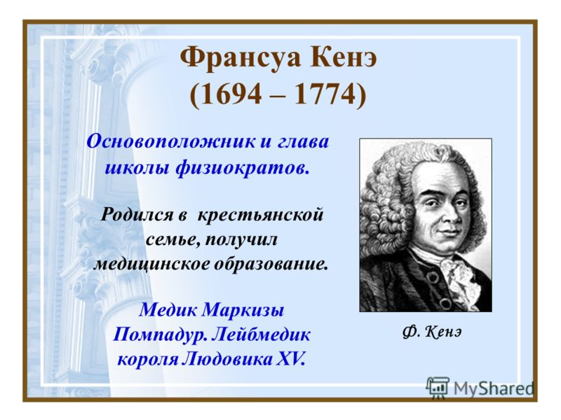 Франсуа Кенэ (1694 – 1774) Родился в крестьянской семье, получил медицинское образование. Основоположник и глава школы физиократов. Ф. Кенэ Медик Маркизы Помпадур. Лейбмедик короля Людовика XV.