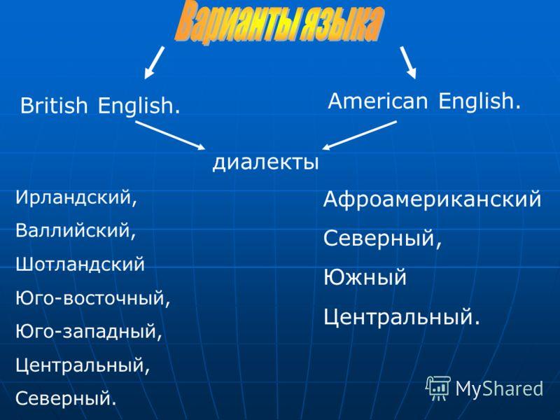 British English. American English. диалекты Ирландский, Валлийский, Шотландский Юго-восточный, Юго-западный, Центральный, Северный. Афроамериканский Северный, Южный Центральный.