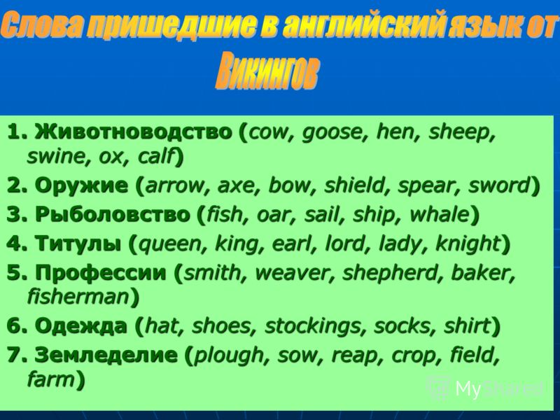 1. Животноводство (сow, goose, hen, sheep, swine, ox, calf) 2. Оружие (arrow, axe, bow, shield, spear, sword) 3. Рыболовство (fish, oar, sail, ship, whale) 4. Титулы (queen, king, earl, lord, lady, knight) 5. Профессии (smith, weaver, shepherd, baker