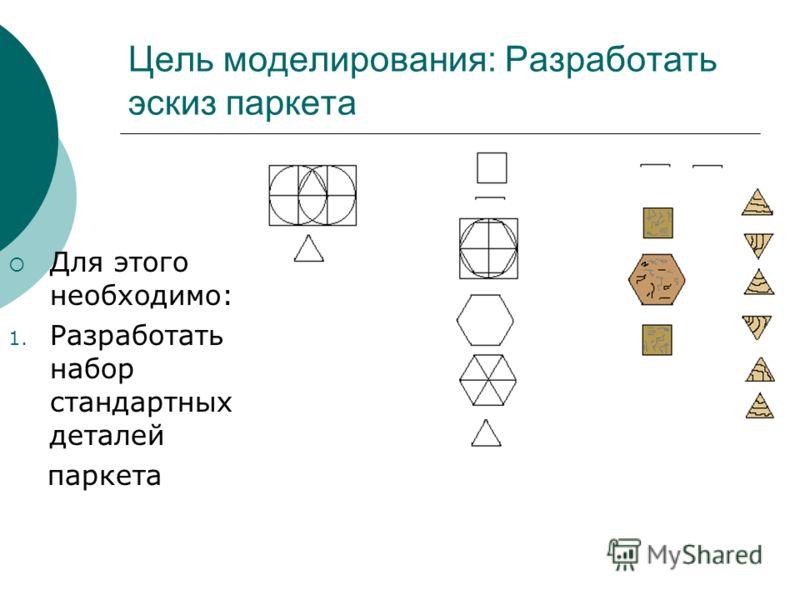 Цель моделирования: Разработать эскиз паркета Для этого необходимо: 1. Разработать набор стандартных деталей паркета